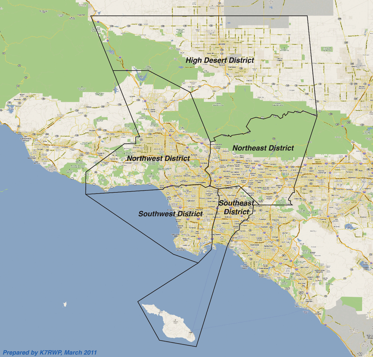 ARRL Los Angeles Section Coverage Map - Los angeles map districts